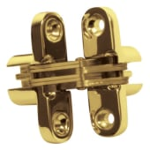 Tago Concealed Hinge - 70 x 16mm - Polished Brass - Pair)
