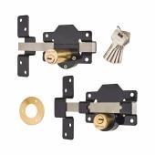 Locking Long Throw Gate Lock - 70mm - 2 keyholes - 316 Stainless Steel)