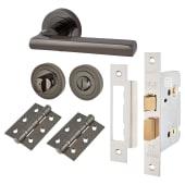 Touchpoint Sophia Lever Door Handle - Bathroom Lock Kit - Black Nickel)