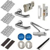 Light Duty Door Handle on Rose Fire Door Kit - Euro Sashlock - Satin Stainless)