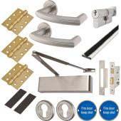 Heavy Duty Lever on Rose Fire Door Kit - Euro Sashlock - Stainless Steel)