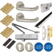 Medium Duty Lever on Rose Fire Door Kit - Euro Sashlock - Stainless Steel)