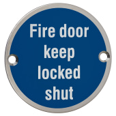 Fire Door Keep Locked Shut - 75mm - Polished Stainless Steel)