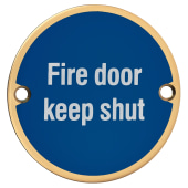 Fire Door Keep Shut - 75mm - Polished Brass)