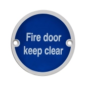 Fire Door Keep Clear - 75mm - Satin Aluminium)