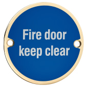 Fire Door Keep Clear - 75mm - Polished Brass)