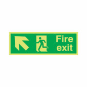 Fire Exit Running Man with Arrow - Up Left - 150 x 450mm - Rigid Plastic)
