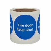 Fire Door Keep Shut - Self-Adhesive Vinyl Label - 80 x 80mm)