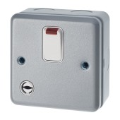 MK 32A 1 Gang Double Pole Metalclad Switch with Flex Outlet and Neon - Grey)