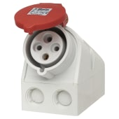 Cee Norm 32A 3 Pin and Earth Surface Socket - Red)