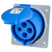 ABB 32A 2 Pin and Earth Splashproof Socket Outlet - Blue)