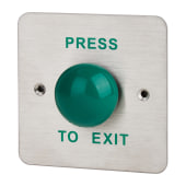 High Impact Flush Dome Egress Switch - 88 x 88mm - Green Button)
