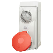 KES 32A 4 Pin and Earth Surface Socket and Isolator - Red)