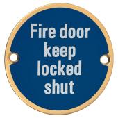 Fire Door Keep Locked Shut - 75mm - Polished Brass)