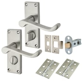 Touchpoint Budget Scroll Door Handle Kit - Privacy Set - Satin Chrome)