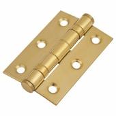 Twin Ball Bearing Hinge - 75 x 50 x 2mm - Brass Plated - Pair)