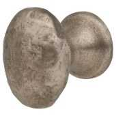 FingerTip Design Hammered Oval Cabinet Knob - 29 x 37mm - Pewter Effect)