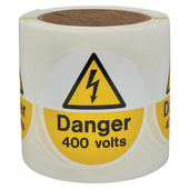 Self Adhesive Vinyl Labels - Danger 400 Volts)
