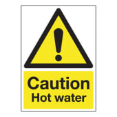 Caution Hot Water - 250 x 100mm)