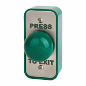 Stainless Steel Egress Switch and Green Dome - 89 x 43 x 50mm - Narrow)