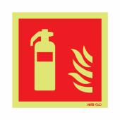 NITE GLO Fire Extinguisher Symbol - 200 x 200mm - Rigid Plastic)