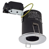 Luceco Fire Rated Fixed Downlight - Polished Chrome)