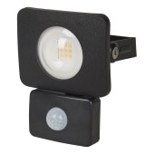 Integral LED 10W Compact-Tough Floodlight with PIR - 4000K - Black )