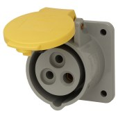 Lewden 16A 2 Pin and Earth Panel Socket - Yellow)