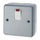 MK 20A 1 Gang Double Pole Metalclad Switch with Neon - Grey)