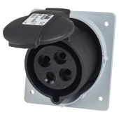 ABB 32A 2 Pin and Earth Splashproof Socket Outlet - Black)