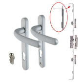 5 Point Multipoint Lock Kit with Windsor Handle - 35mm Backset - Satin Chrome)