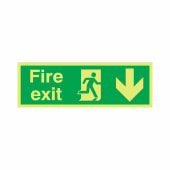 NITE-GLO Fire Exit Running Man - Arrow Down - 150 x 450mm)