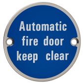 Automatic Fire Door Keep Clear - 75mm - Polished Stainless Steel)