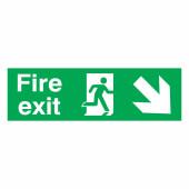 Fire Exit Down Right - 150 x 450mm - Rigid Plastic)