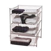 elfa® Basket Tower - 1 x Shallow Basket/3 x Medium Baskets - 740 x 550 x 540mm - White)