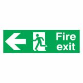 Fire Exit Left - 150 x 450mm - Rigid Plastic)