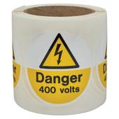 Self Adhesive Vinyl Labels - Danger 400 Volts)