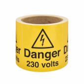 Self Adhesive Vinyl Labels - Danger 230 Volts)
