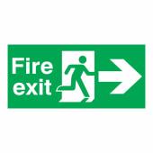 Fire Exit Right - 150 x 450mm - Rigid Plastic)