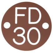 FD30 Door Sign Drilled - 50mm - Brown)