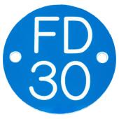 FD30 Door Sign Drilled - 50mm - Blue)