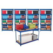 Rapid Shelving and Workbench Kit - 1760 x 900 x 600mm + 1 Bench 900 x 1500 x 600mm)