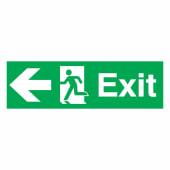 Exit Left - 150 x 450mm - Rigid Plastic)