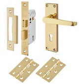 Touchpoint Budget Straight Door Handle Kit - Keyhole Lock Set - Polished Brass)