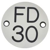 FD30 Door Sign Drilled - 50mm - Silver)