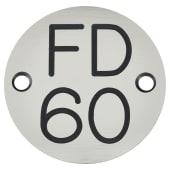 FD60 Door Sign Drilled - 50mm - Silver)