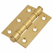 Twin Ball Bearing Hinge - 75 x 50 x 2mm - Brass Plated - Pair)