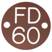 FD60 Door Sign Drilled - 50mm - Brown)