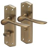 Aglio Rome Door Handle - Bathroom Set - Antique Brass)
