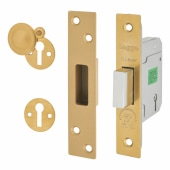 Legge Heavy Duty BS3621:2007 5 Lever Deadlock - 64mm Case - 44mm Backset - Polished Brass)